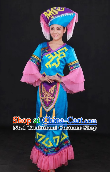 Traditional Chinese Ethnic Minority Zhuang People Clothing and Hat Complete Set for Women