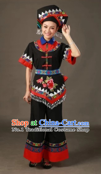 Traditional Chinese Ethnic Minority Zhuang People Folk Clothing and Hat Complete Set for Women