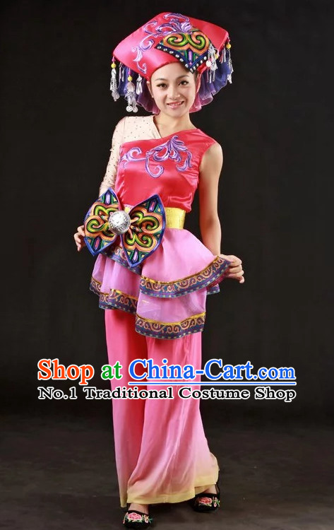 Long Sleeves Traditional Chinese Zhuang Dress and Hair Accessories Complete Set for Women