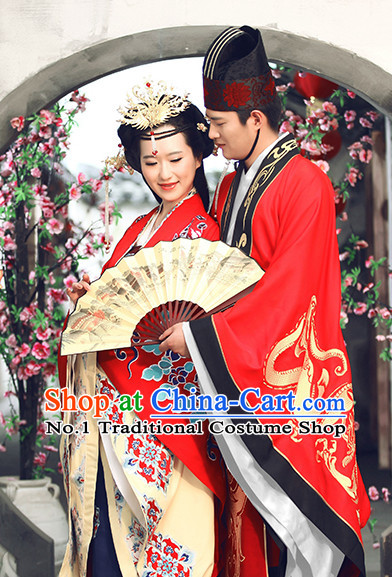 Red Chinese Ancient Wedding Dresses and Headwear Complete Sets for Men and Women