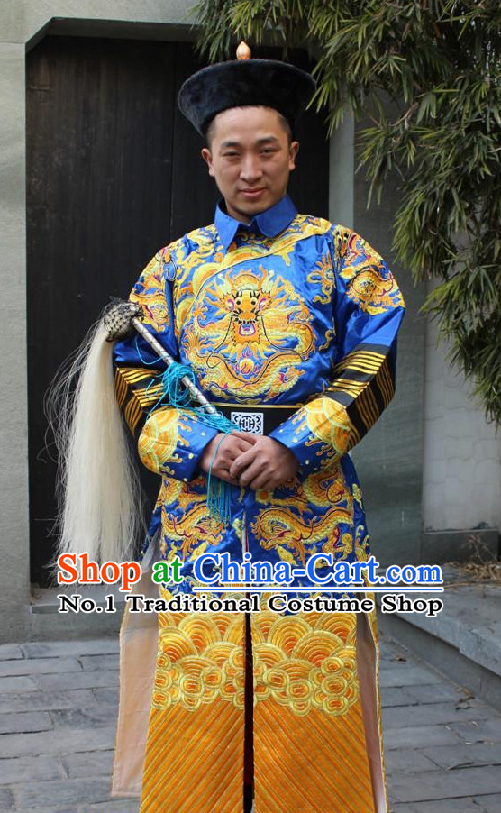 China Palace Official Dragon Robe and Hat Complete Set for Men