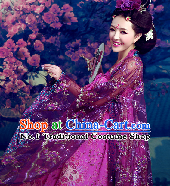 Ancient Chinese Queen Clothing and Hair Accessories Complete Set for Women