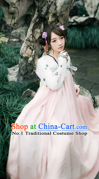 Chinese Ancient Beauty Clothes and Hair Accessories Complete Set