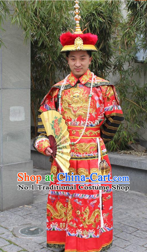 Chinese Ancient Emperor Costumes and Crown Complete Set for Men