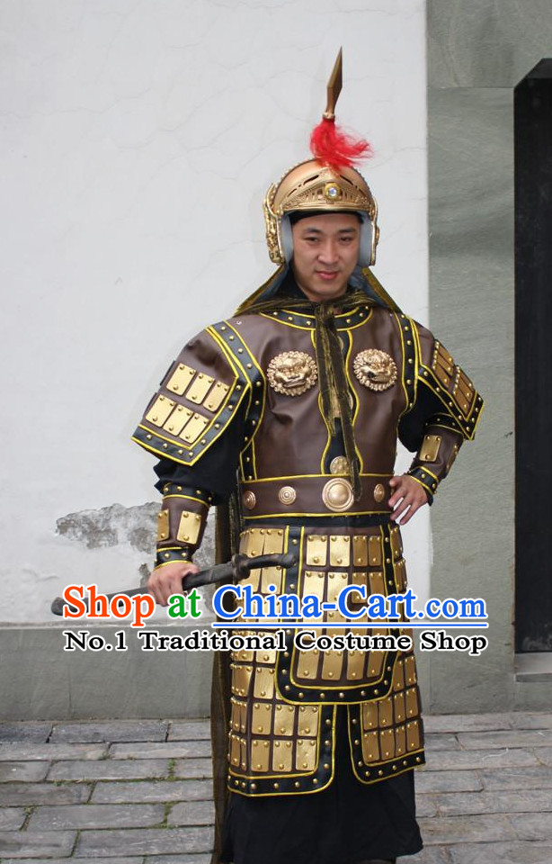 Chinese Ancient General Armor Costumes and Helmet Complete Set for Men