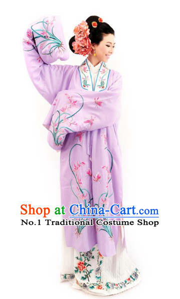 Chinese Opera Long Robe and Hair Accessories Complete Set
