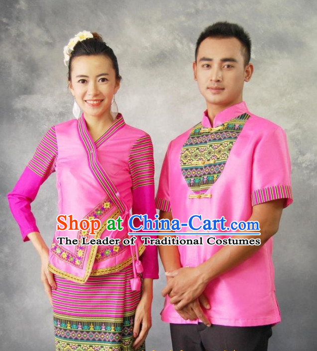 Traditional Thailand Customs Male and Female Clothes 2 Sets