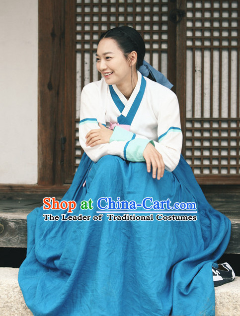 Ancient Korean Han Bok Clothes and Head Band Complete Set for Women