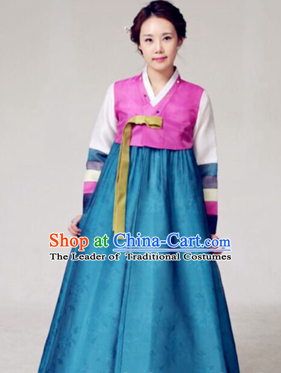 Custom Made Korean Fashion Hanbok and Hair Accessories Complete Set for Ladies