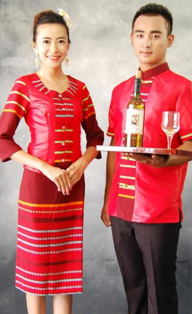 Lucky Red Thailand Traditional Clothes 2 Sets for Men and Women