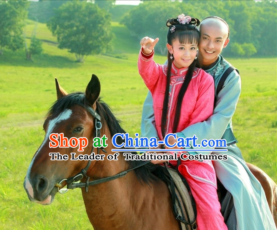 Red Chinese Qing Dynasty Casual Mandarin Clothes for Girls