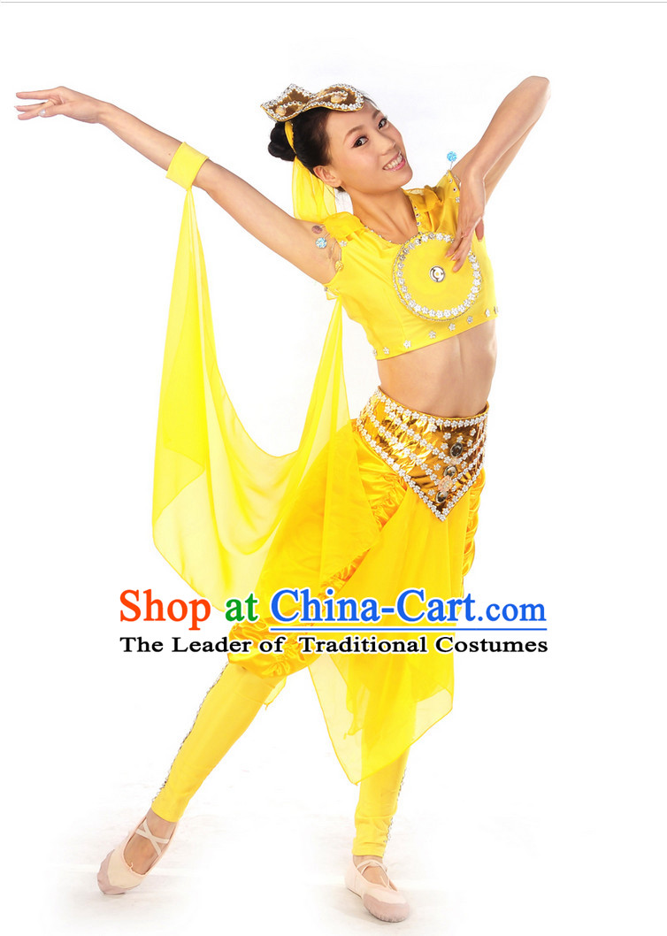 Chinese Ancient Drum Dancing Costume and Headwear Complete Set for Women