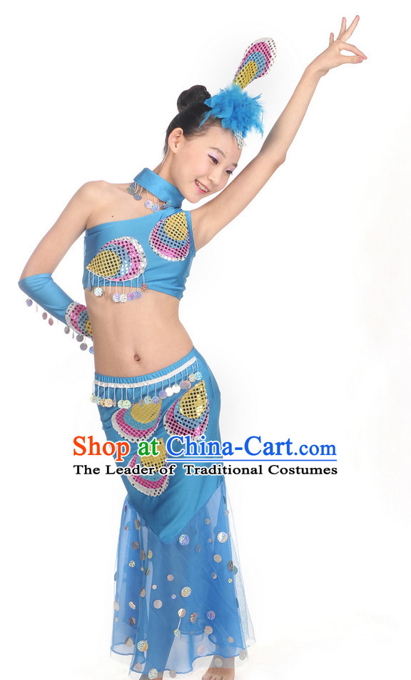 Blue Yunnan Peacock Dance Costume and Headwear for Kids