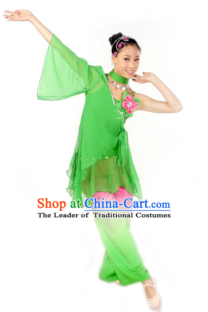 Wide Sleeves Chinese Spring Dancing Costume for Girls