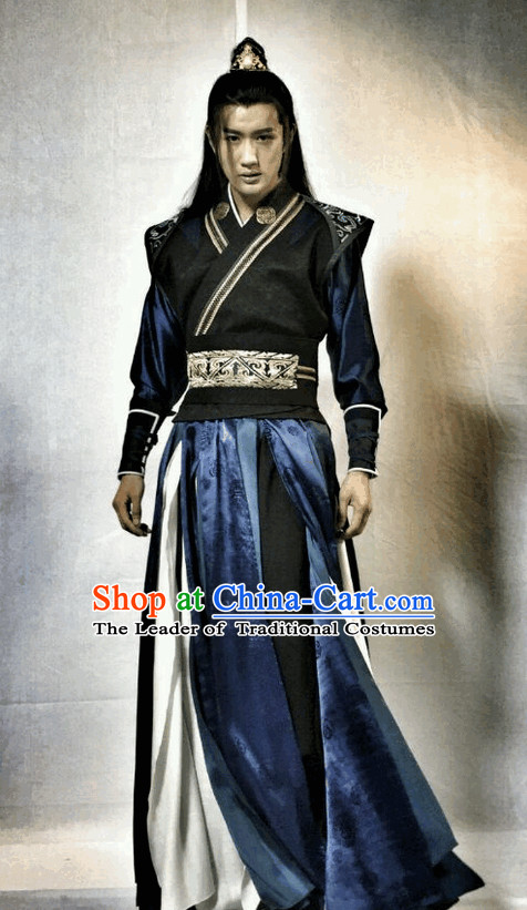 Ancient Wuxia Gong Fu Swordsman Long Robe Clothes Complete Set for Men
