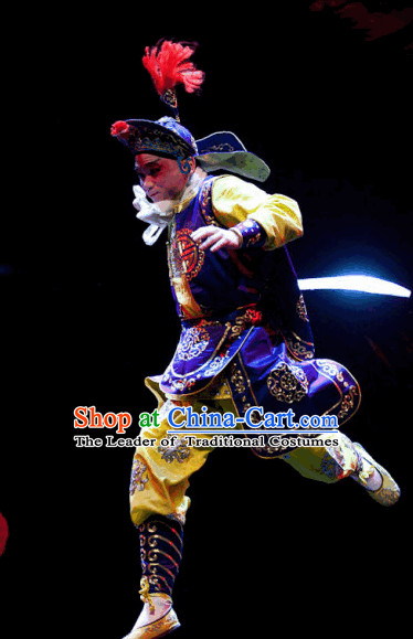 Ancient Chinese Opera Solider Costumes and Hat Complete Set for Men.