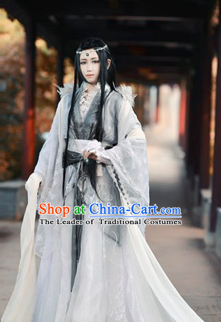 Ancient Chinese Noblemen Style Hallooween Costumes and Hair Jewelry
