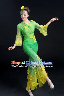 Traditional Jasmine Flower Group Dance Costume and Headwear Compelte Set