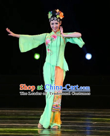 Top Chinese Fan Dancing Costume and Hair Decorations Complete Set