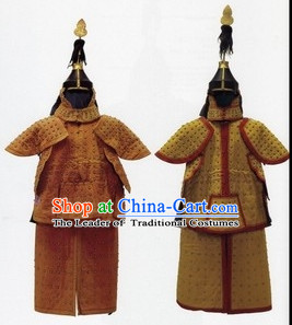 Chinese Classical Qing Dynasty General Armor Costume and Helmet