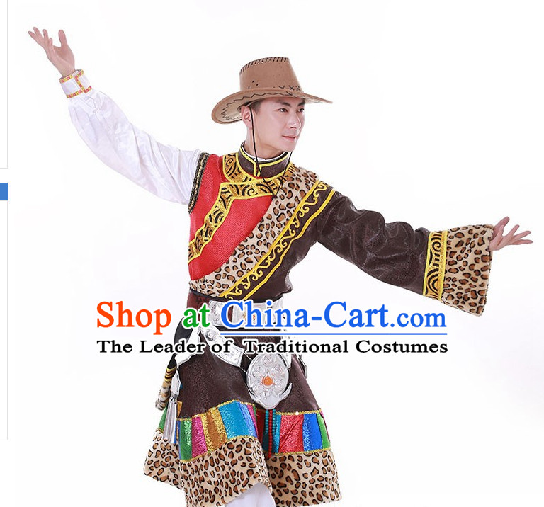 Chinese Custom Made Tibet Folk Dance Costume and Headpieces Complete Set for Men