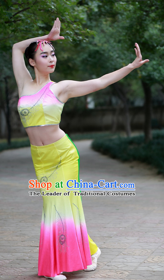 Pink Chinese Custom Made Folk Dai Ethnic Dance Costume and Headpieces Complete Set for Women
