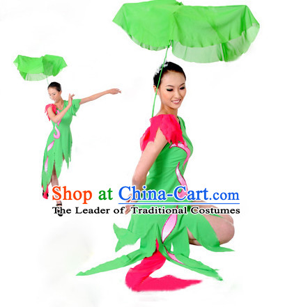Chinese Quality Lotus Dance Costume and Headwear Complete Set for Girls