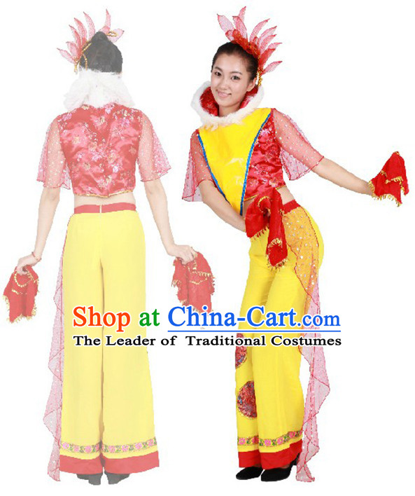 Chinese Teenagers Korean Dance Costume and Hair Decorations for Competition