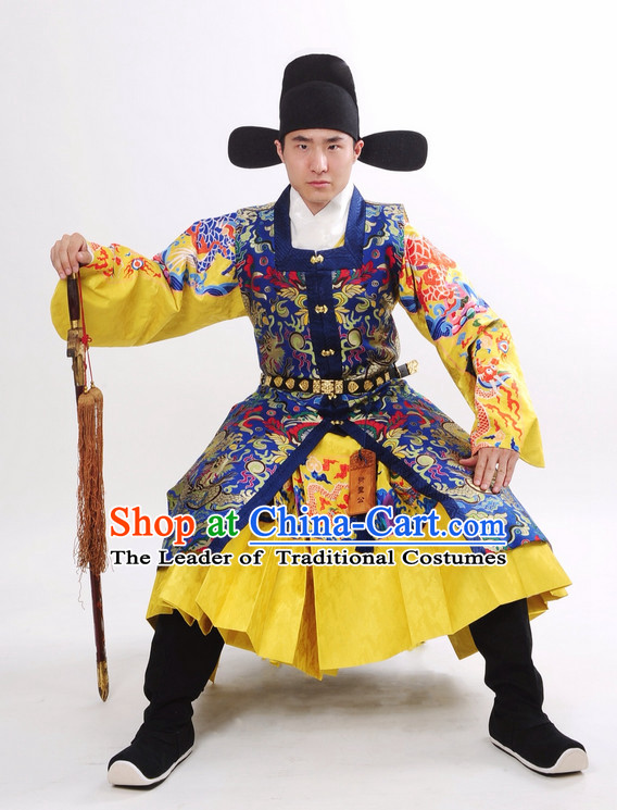 China Ancient Ming Dynasty Official Swordsman Costume and Hat Complete Set for Men