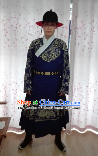 Chinese Ming Dynasty Male Official Uniform and Hat Complete Set