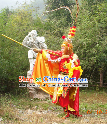 Chinese Sun Wukong Costumes and Headpieces Complete Set