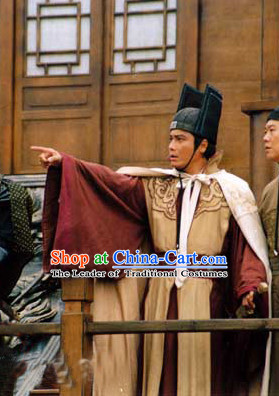 Ming Dynasty Zheng He Costume and Hat Complete Set for Men
