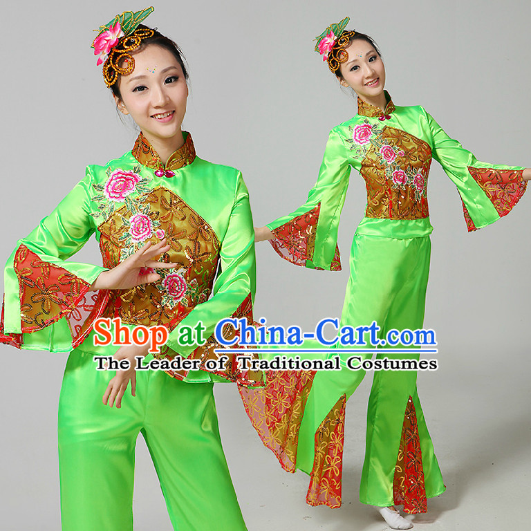 Chinese Fan Dance Costumes Ribbon Dancing Costume Dancewear China Dress Dance Wear and Hair Accessories Complete Set
