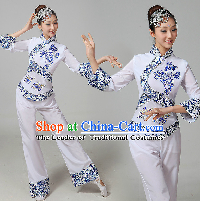 Chinese Handkerchief Dance Costumes Ribbon Dancing Costume Dancewear China Dress Dance Wear and Hair Accessories Complete Set