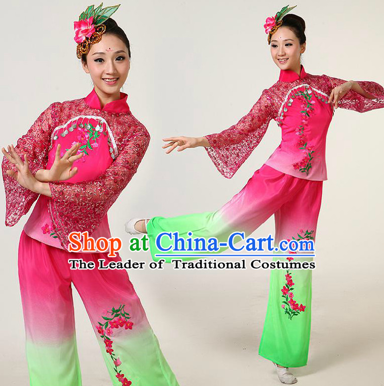 Chinese Dance Costumes Competition Costumes Dancewear China Dress Dance Wear and Headpieces Complete Set
