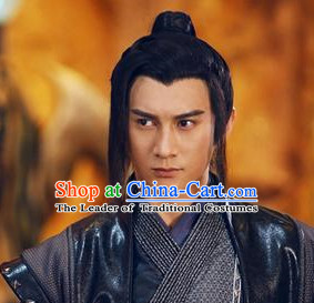 Ancient Chinese Swordsmen Knight Black Male Wigs