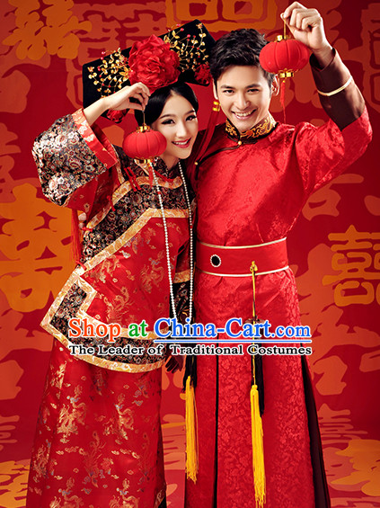 Traditional Chinese Qing Dynasty Wedding Celebration Outfits for Men and Women