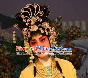 Chinese Opera Hua Tan Wigs and Hair Accessories Complete Set