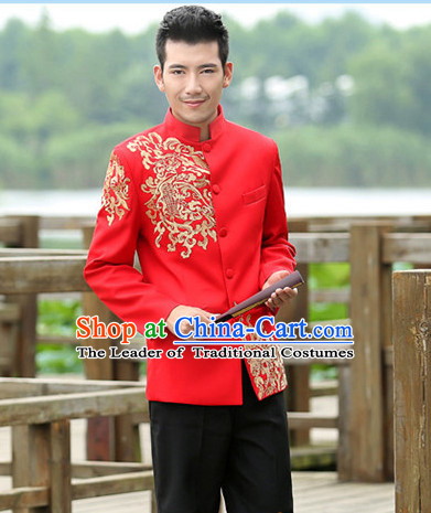 Chinese Traditional Wedding Blouse and Pants for Bridegroom