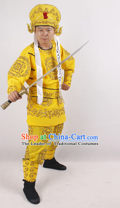 Chinese Opera Warrior Costumes and Hat Complete Set for Men