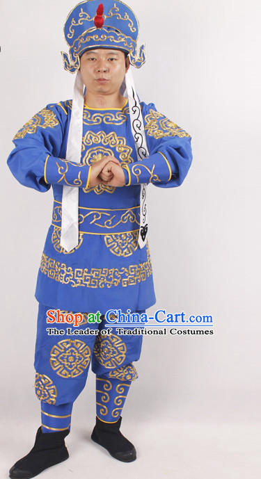 Chinese Opera Warriors Costume and Hat Complete Set for Men