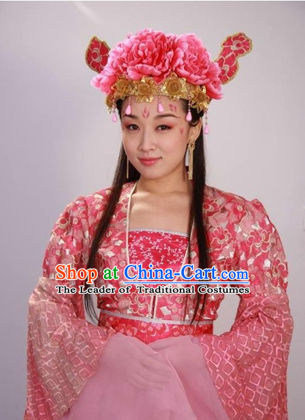 Chinese Flower Stage Performance Pink Dancing Costume and Head Wear for Women