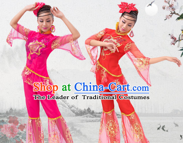 Happy Chinese Spring Festival Dance Costumes and Headwear Complete Set for Women