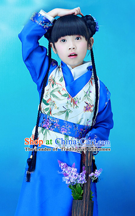 Chinese Classic  Han Dynasty Costume and Hair Jewelry Complete Set for Kids