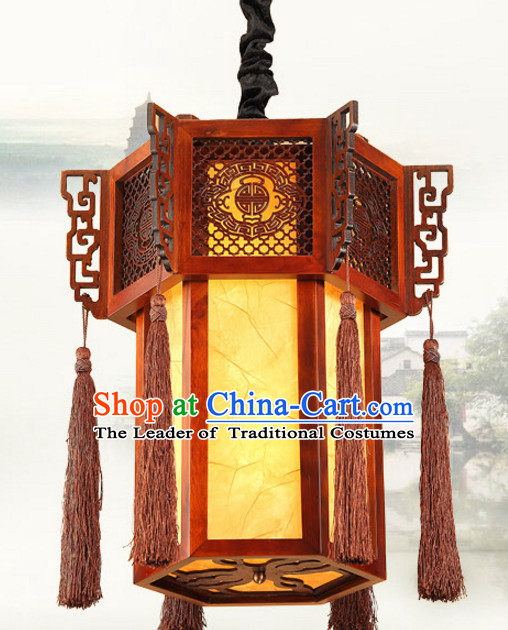 Chinese Antique Style Ancient Handmade Natural Wood Palace Lantern