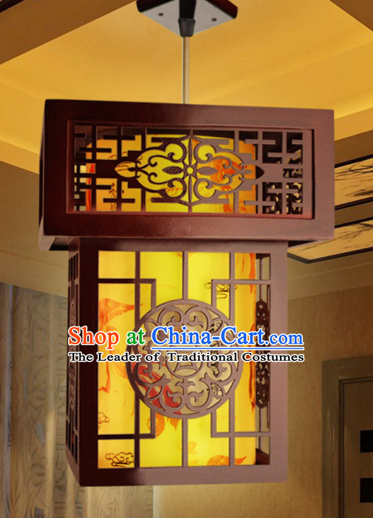 Chinese Antique Style Ancient Handmade Natural Wood Hanging Palace Lantern