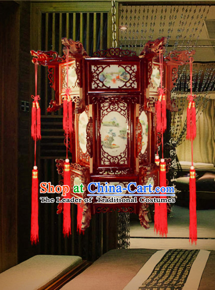 Chinese Antique Style Ancient Handmade Hexangular Natural Wood Hanging Palace Lantern