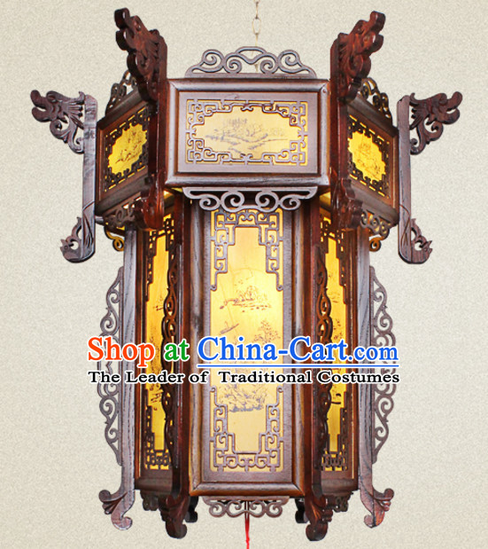 Chinese Antique Style Ancient Handmade and Carved Natural Wood Hanging Palace Lantern