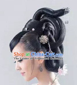 Chinese Classic Fairy Hairstyle Female Black Long Wigs