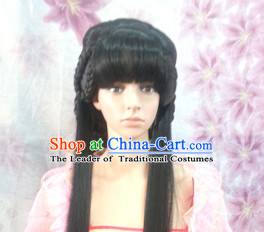 Chinese Ancient Fairy Female Hairstyle Long Black Wigs